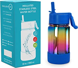 CHILLOUT LIFE 12 oz Insulated Water Bottle with Straw Lid for Kids and Adult + 20 Funny Waterproof Stickers - Perfect for ...