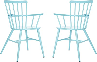 Safavieh PAT3001D-SET2 Outdoor Clifton Baby Blue Spindle Back (Set of 2) Arm Chair