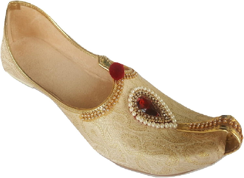 Aura Mens Punjabi Jutti Jewelled Indian Khussa Flat shoes Ethnic Mojari UK Size 7-12 gold Glow