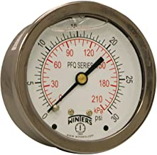 Winters PFQ Series Stainless Steel 304 Dual Scale Liquid Filled Pressure Gauge with Brass Internals, 0-30 psi/kpa,2-1/2