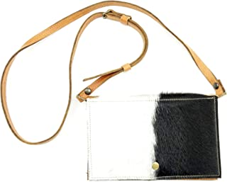 Black and White Cowhide Leather Festival Belt Bag Converts to Cross Body Purse