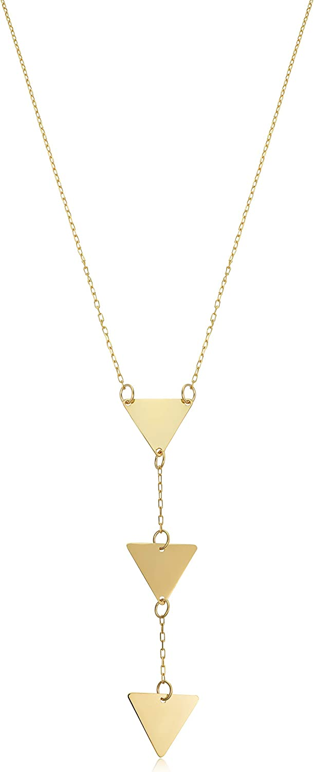 10k Yellow Gold Triple Triangle Adjustable Length Y Necklace for Women (adjusts to 16 or 17 inch)