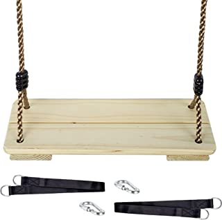 KINSPORY Wooden Swing Seat for Kids with Adjustable 82'' PE Rope - 3 Seconds Installing Accessory (Preservative Wood)
