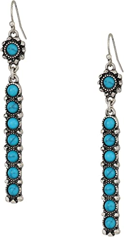 Long Bar Turquoise Stone Drop Earrings