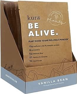 Kura Plant Based Protein Wellness Powder, Vanilla Bean, 15g Protein, 23 Vitamins & Minerals, NZ Superfoods, Non-GMO, Gluten Free, Stevia Free, New Zealand Born (10 Pack Single Serve Box, 1.2 Ounce)
