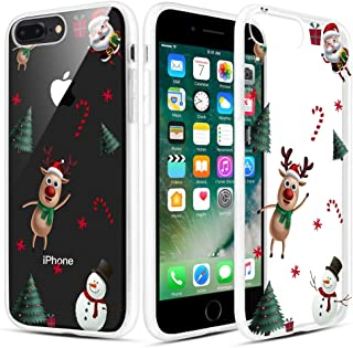 Caka Christmas Case for iPhone 8 Plus, iPhone 7 Plus Clear Floral Case with Christmas Design for Girls Women Girly Slim Soft TPU Case for iPhone 6 Plus 6s Plus 7 Plus 8 Plus (Christmas Tree)