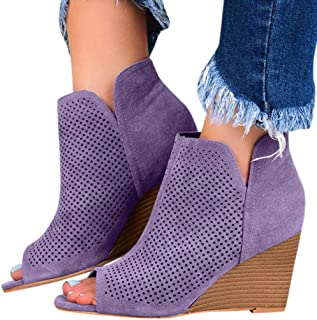 Women's Fashion Fish Mouth Sandals Casual Boots Square Pinhole Wedges Heel Ankle Short Booties