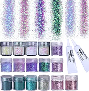 BONNIE CHOICE 16 Colors Holographic Chunky Body Glitter with 2pcs Long Lasting Fix Gel, Total 160g Cosmetic Glitter for Face Body Hair Nail Halloween Festival and Other Occasions