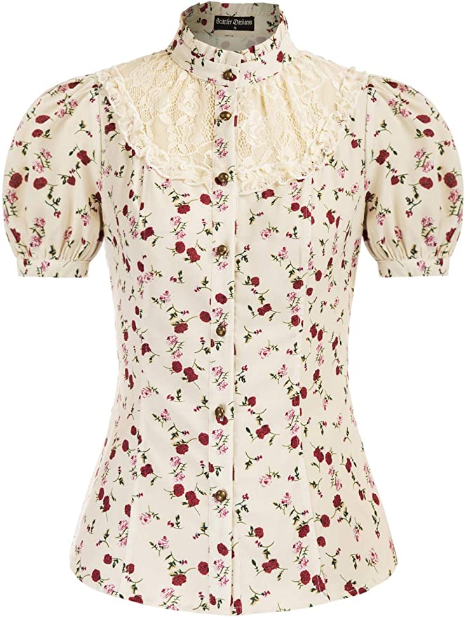 Victorian Blouses, Tops, Shirts, Vests, Sweaters Women Victorian Short Sleeve Blouse Lace Patchwork Vintage Collared Shirt  AT vintagedancer.com