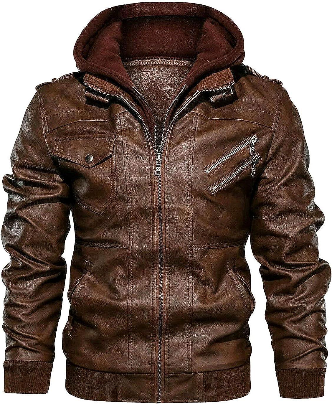 chamarras de Hombre de invierno - Men's Leather Motorcycle Jacket with Removable Hood Brown