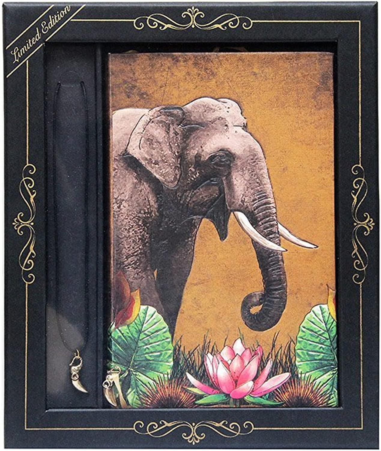 Doodle Exquisite India Wildlife  Tusk Tales Diary Notebook with Pendant