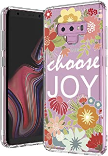MOSNOVO Galaxy Note 9 Case, MOSNOVO Floral with Flower Quote Clear Design Back Case with TPU Bumper [Drop Protection] Protective Case Cover for Samsung Galaxy Note 9 (Choose Joy)