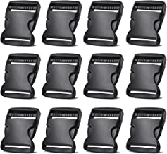 2 Inch Side Quick Release Plastic Buckles (12 Pack Black)
