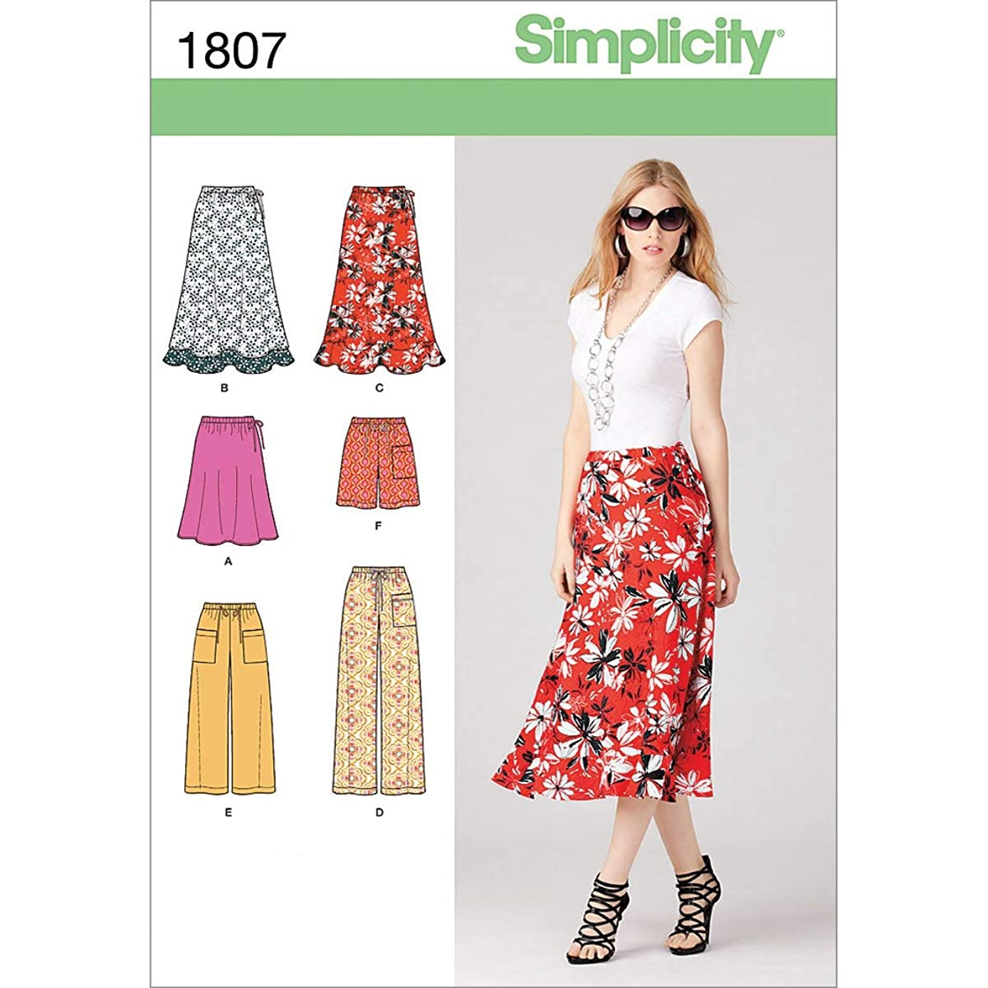 Simplicity Pattern 1807 Misses Skirt in 2 Lengths and Pants in 2 Lengths and Shorts Sizes 16-18-20-22-24