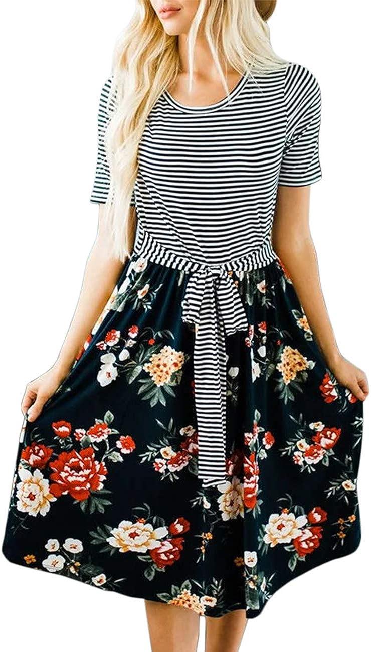 MEROKEETY Women's Stripe Floral Print Short Sleeve Tie Waist Swing Midi Dress Casual Summer