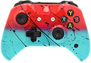 Hand Airbrushed Fade Xbox One Custom Controller Compatible with Xbox One (Red & Teal W/Red LED)