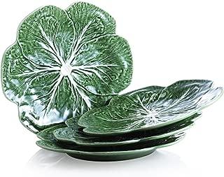 Bordallo Pinheiro Cabbage Green Dinner Plates, Set of 4