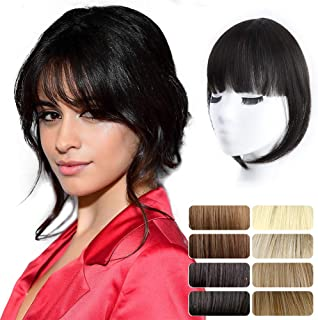 AISI QUEENS Clip in Bangs Long Fringe Front Neat Air Curved Bangs for Women Synthetic Natural Looking Bangs Hair Clip on Fringe Bangs Hair Pieces with Long Straight Temples(Natural black)