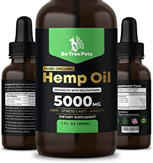Bo Tree Pets Hemp Oil for Dogs and Cats, 5000mg with Omega 3, 6, and 9, Multivitamins and Antioxidants, Calming Stress, Anxiety and Joint Pain Relief