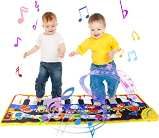 Joyfia Musical Piano Mat, 19 Keys Piano Keyboard Musical Dance Mat Music Playmat Carpet 8 Musical Instruments Baby Early Education Music Toy Touch Play for Kids Gift
