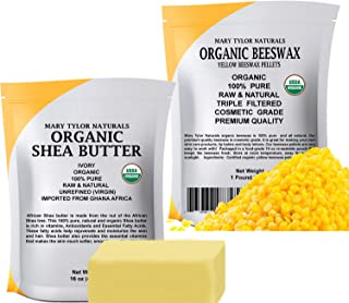 Certified Organic Shea Butter 1 lb + Certified Organic Yellow Beeswax Pellets 1 lb - Set, Amazing Skin Nourishment, Great for DIY Projects, Eczema, Stretch Marks, Body Butters by Mary Tylor Naturals