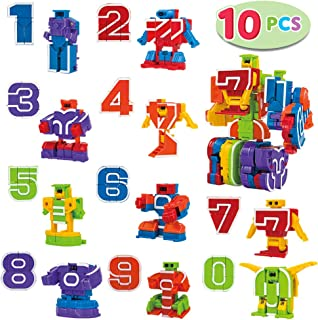 JOYIN 10 Pieces Number Robot Action Figure Toys for Kids Number Learning, Birthday Party, School Classroom Rewards, Carnival Prizes, Pre-School Education Toy,Easter Basket Stuffers