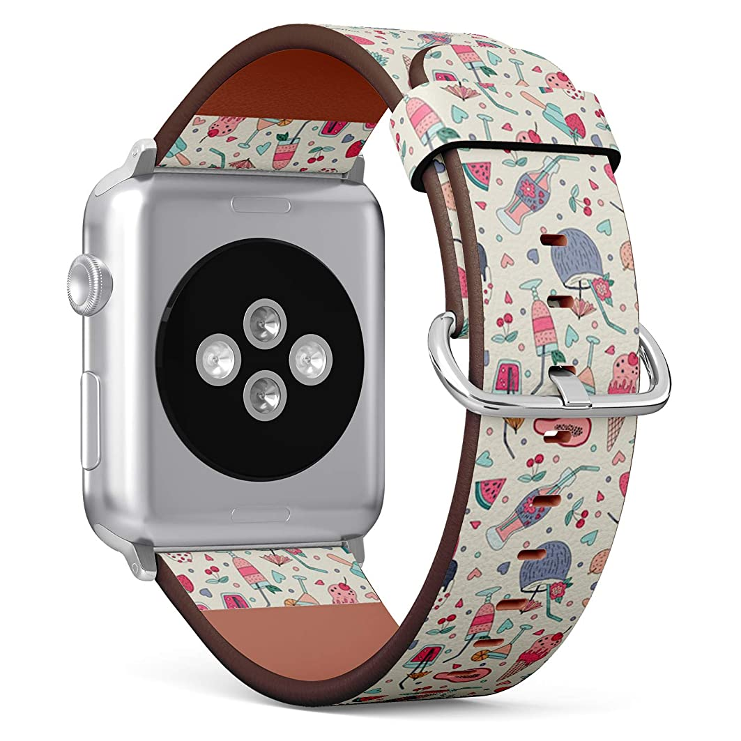 強大な長さ威するコンパチブル Apple Watch iWatch 42mm & 44mm - 本革レザーストラップ, 向けのバンド交換ストラップです コンパチブル アップルウォッチ バンド (氷)
