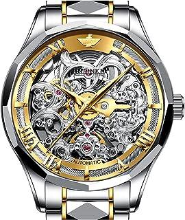 ساعات OUPINKE للرجال - ساعة آلية للرجال - ساعة هيكل عظمي - حزام من الفولاذ التنجستين - حركة يابانية ذاتية اللفاف الذاتي مي...