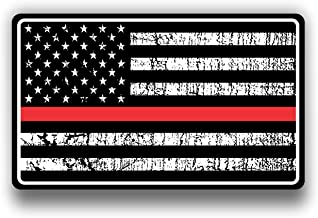 Fire Dept Red Thin Line USA Flag Decal American Flag Sticker Grunge Distressed Red Stripe for Cars and Trucks for Honor and Support of Our Fire Fighters Vinyl Window Bumper 5 X 3