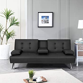 Pawnova PA-FSP203 Futon Sofa Bed, Modern Faux Leather Convertible Folding Lounge Couch for Living Room with 2 Cup Holders Removable Soft Armrest and Sturdy Metal Legs, Black