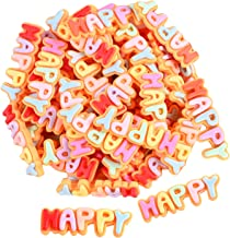NC 50x Resina Happy Letter Flatback Charms Beads Enfeite DIY Cardmaking