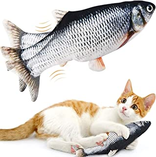Moving Catnip Fish Cat Toys, LANKA Realistic Plush Simulation Electric Wagging Fish Toys for Cat, Catnip Kicker Toys Funny...