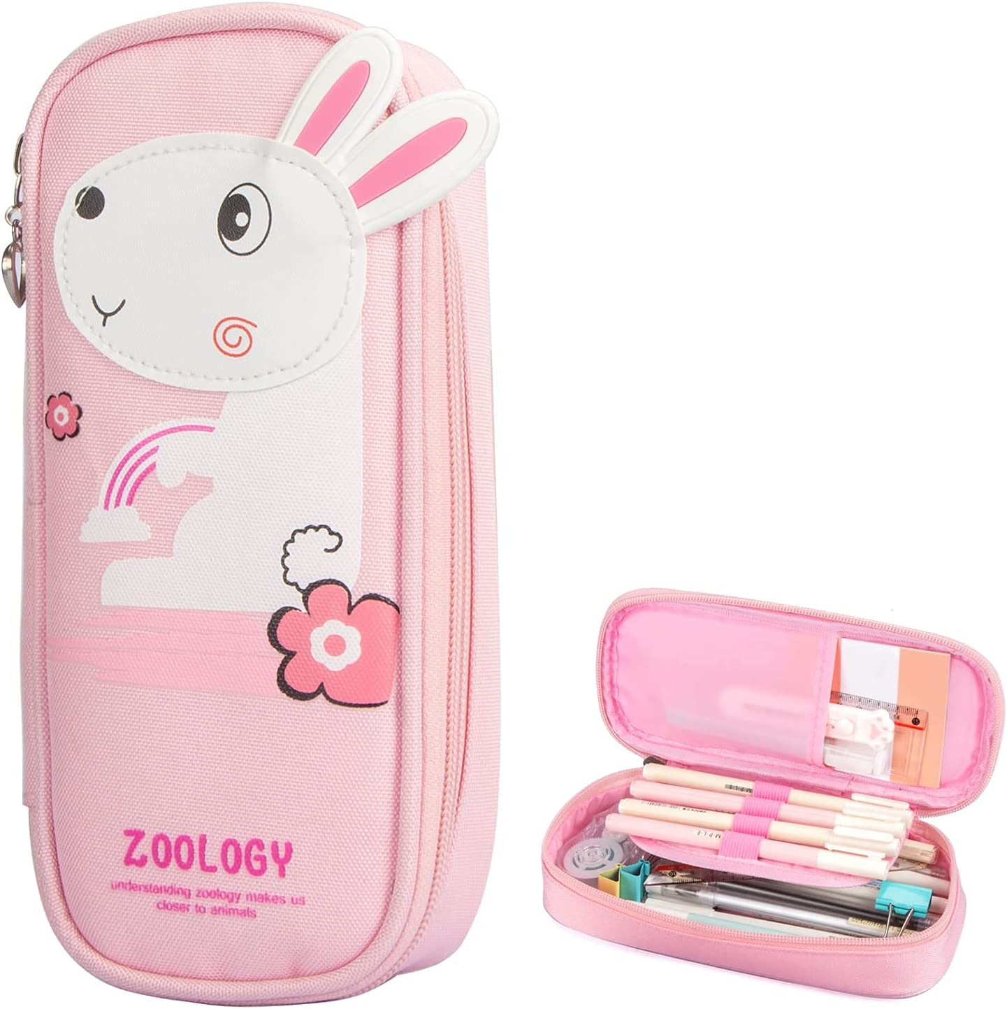 Aobopar Cute Bunny Pencil Case P Bag with Girls' trend rank NEW before selling ☆ Zipper