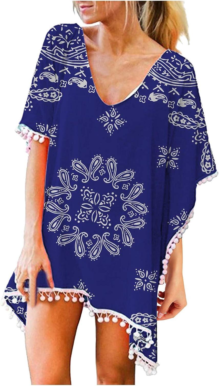 Gerichy Womens Summer Casual Dresses, Womens Swimsuits Cover Ups Trim Tassels Beach Blouse Swimwear Bikini Loose Shirt Blue