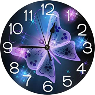 Stylish 3D Butterfly Star Round Wall Clock Battery Operated Quartz Analog Quiet Home Kitchen Decor Wall Clocks(9.5 Inch)