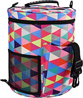 Large Capacity/Portable/Lightweight Yarn Storage Knitting Tote Organizer Bag with Shoulder Strap Handles Looen W/Pockets for Crochet Hooks & Knitting Needles … (Rainbow Color)