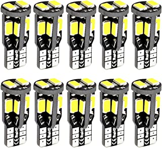 BOODLED 10X 194 168 2825 T10 W5W Led Bulb 10-SMD 5730 Chipset Super Bright 300 Lumens Error Free Led Bubls For interior Dome Map Door Courtesy License Plate Lights,  White(Pack of 10)