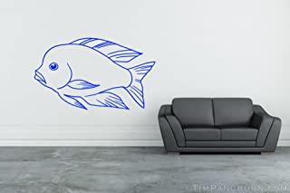 Swimming Malawi Blue Dolphin Haplochromis Moorii Cichlid Fish Vinyl 30 inch Wall Decal Home Decor Aquarium Tank Fishtank Hobby