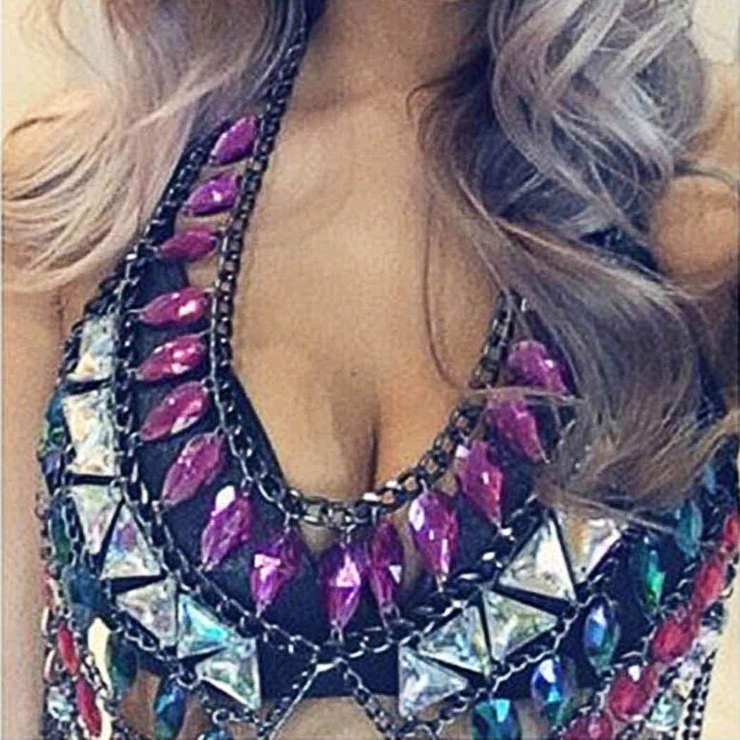 Nicute Rave Rhinestone Body Chain Colorful Bra Bikini Chains Summer Beach Body Jewelry for Women and Girls