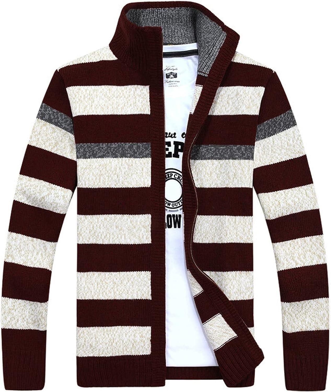 PEHMEA Men's Classic Slim Fit Stand Collar Striped Cardigan Sweater Full Zip Knit Sweaters