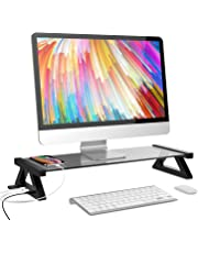 YINGYU 机上台 モニタースタンド USBポート付き キーボード収納 強化ガラス製 デスク 卓上 収納整理 幅500㎜ (グレー)
