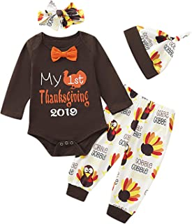 Mutiggee Baby Boy Girl My 1st Thanksgiving Outfit Set First Turkey Day Romper