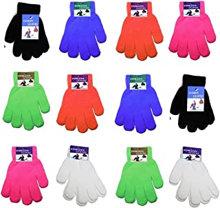 Children Warm Magic Gloves 12 Pairs Teens Winter Gloves Boys Girls Knit Gloves(7 to 16 years old)