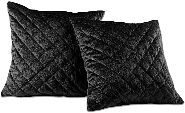 Chezmoi Collection Nina Premium Heavy Velvet Modern Diamond Pattern Decorative Square Throw Pillow Cushion Cover Black 18 X 18 Set Of 2