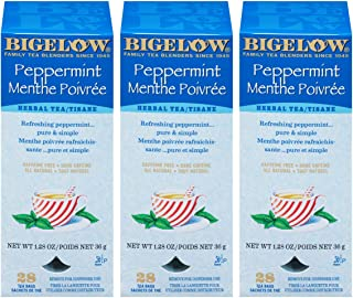 Bigelow Peppermint Herbal Tea 28-Count Box (Pack of 3) Caffeine-Free Bagged Herbal Tea in Individually Wrapped Foil Packet...