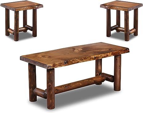 Amazon Com Rustic Log Coffee And End Table Set Pine And Cedar Honey Pine Furniture Decor