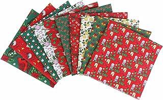 Tecido de Natal, 10 peças de tecido de algodão de Natal pré-cortadas para artesanato, bolsas, travesseiros, papel de embru...