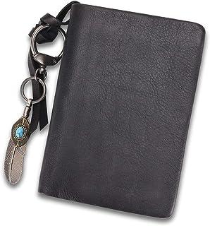 Genuine Leather Wallet Soft Purse Money Case Card Organizer Vintage Cowhide Money Clip with Zipper Compartment (Grey)