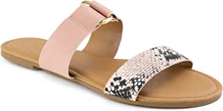 RF ROOM OF FASHION Women's Double Band Slide On Flat Sandals
