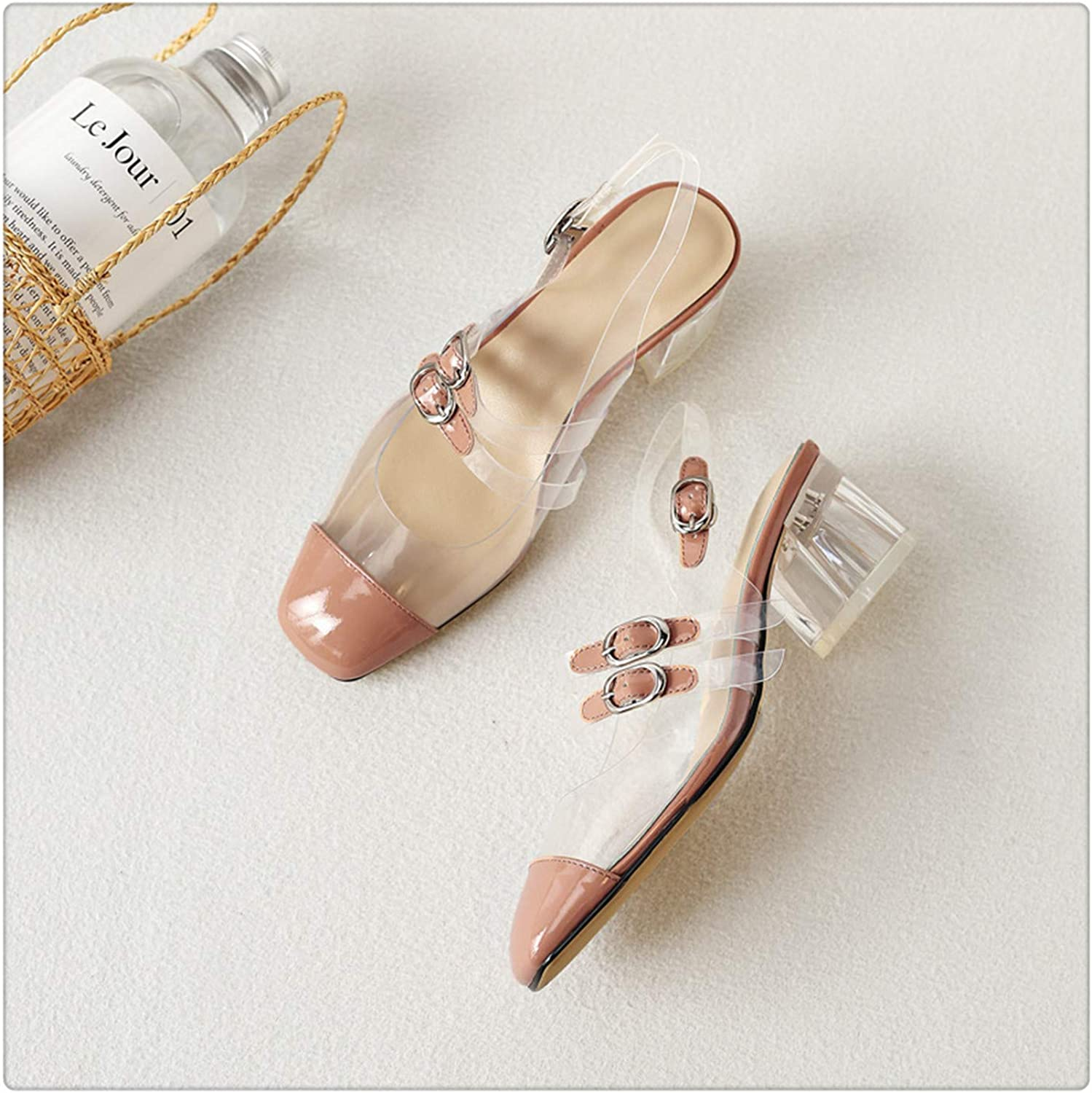 HROST& Square Toe Patent Leather Buckle Strap Mixed colorsHigh Heels Sandals Women Tide